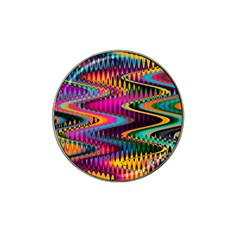 Multicolored Wave Distortion Zigzag Chevrons Hat Clip Ball Marker by EDDArt