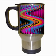 Multicolored Wave Distortion Zigzag Chevrons Travel Mugs (white) by EDDArt