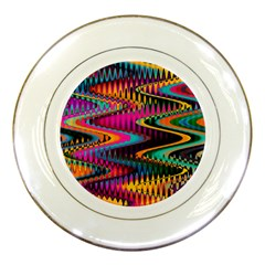Multicolored Wave Distortion Zigzag Chevrons Porcelain Plates