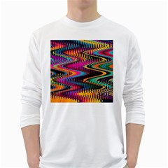 Multicolored Wave Distortion Zigzag Chevrons White Long Sleeve T Shirts by EDDArt