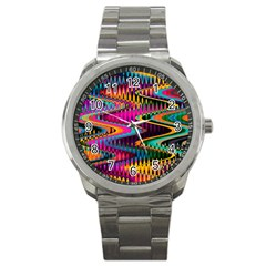Multicolored Wave Distortion Zigzag Chevrons Sport Metal Watch by EDDArt