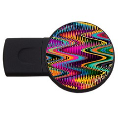 Multicolored Wave Distortion Zigzag Chevrons Usb Flash Drive Round (4 Gb) by EDDArt