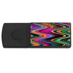Multicolored Wave Distortion Zigzag Chevrons Rectangular Usb Flash Drive by EDDArt