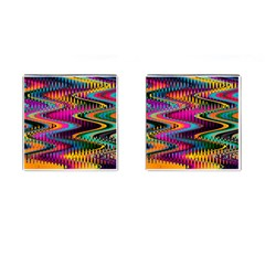 Multicolored Wave Distortion Zigzag Chevrons Cufflinks (square) by EDDArt