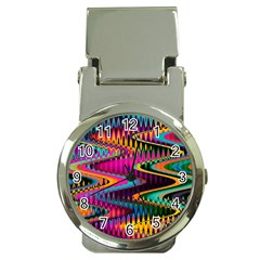 Multicolored Wave Distortion Zigzag Chevrons Money Clip Watches by EDDArt