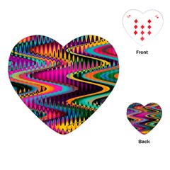 Multicolored Wave Distortion Zigzag Chevrons Playing Cards (heart)  by EDDArt