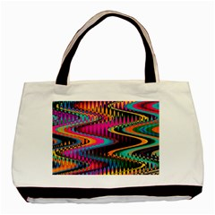 Multicolored Wave Distortion Zigzag Chevrons Basic Tote Bag by EDDArt