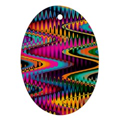 Multicolored Wave Distortion Zigzag Chevrons Oval Ornament (two Sides) by EDDArt