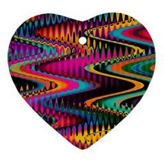 Multicolored Wave Distortion Zigzag Chevrons Heart Ornament (two Sides) by EDDArt