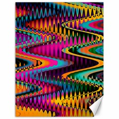 Multicolored Wave Distortion Zigzag Chevrons Canvas 12  X 16   by EDDArt