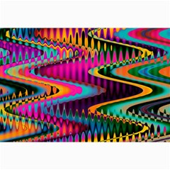 Multicolored Wave Distortion Zigzag Chevrons Canvas 24  X 36  by EDDArt