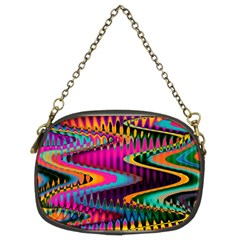 Multicolored Wave Distortion Zigzag Chevrons Chain Purses (two Sides)