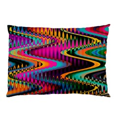 Multicolored Wave Distortion Zigzag Chevrons Pillow Case by EDDArt