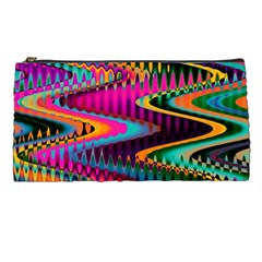 Multicolored Wave Distortion Zigzag Chevrons Pencil Cases by EDDArt