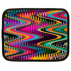 Multicolored Wave Distortion Zigzag Chevrons Netbook Case (xl)  by EDDArt