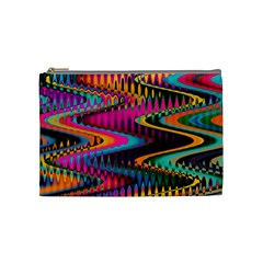 Multicolored Wave Distortion Zigzag Chevrons Cosmetic Bag (medium) by EDDArt