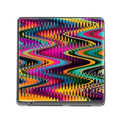 Multicolored Wave Distortion Zigzag Chevrons Memory Card Reader (square 5 Slot) by EDDArt