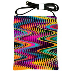 Multicolored Wave Distortion Zigzag Chevrons Shoulder Sling Bags by EDDArt