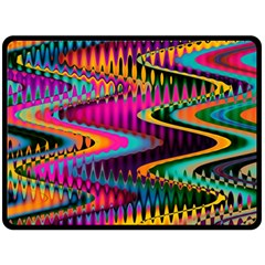 Multicolored Wave Distortion Zigzag Chevrons Fleece Blanket (large)  by EDDArt