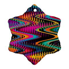 Multicolored Wave Distortion Zigzag Chevrons Snowflake Ornament (two Sides) by EDDArt