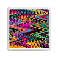 Multicolored Wave Distortion Zigzag Chevrons Memory Card Reader (square) by EDDArt