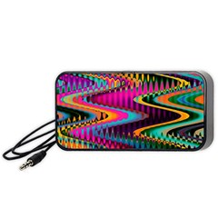 Multicolored Wave Distortion Zigzag Chevrons Portable Speaker by EDDArt