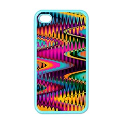 Multicolored Wave Distortion Zigzag Chevrons Apple Iphone 4 Case (color) by EDDArt