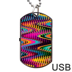 Multicolored Wave Distortion Zigzag Chevrons Dog Tag Usb Flash (one Side) by EDDArt