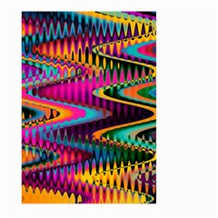 Multicolored Wave Distortion Zigzag Chevrons Large Garden Flag (two Sides) by EDDArt