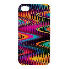 Multicolored Wave Distortion Zigzag Chevrons Apple Iphone 4/4s Premium Hardshell Case by EDDArt