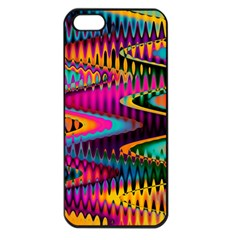 Multicolored Wave Distortion Zigzag Chevrons Apple Iphone 5 Seamless Case (black) by EDDArt