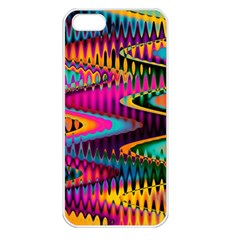 Multicolored Wave Distortion Zigzag Chevrons Apple Iphone 5 Seamless Case (white) by EDDArt