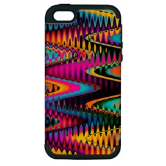 Multicolored Wave Distortion Zigzag Chevrons Apple Iphone 5 Hardshell Case (pc+silicone) by EDDArt