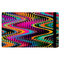 Multicolored Wave Distortion Zigzag Chevrons Apple Ipad 2 Flip Case by EDDArt