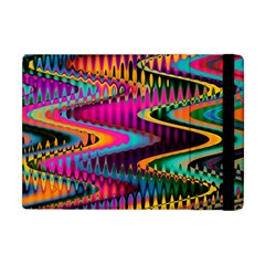 Multicolored Wave Distortion Zigzag Chevrons Apple Ipad Mini Flip Case by EDDArt