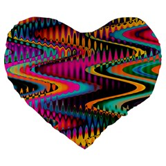Multicolored Wave Distortion Zigzag Chevrons Large 19  Premium Heart Shape Cushions by EDDArt
