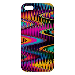 Multicolored Wave Distortion Zigzag Chevrons Apple Iphone 5 Premium Hardshell Case by EDDArt