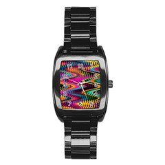Multicolored Wave Distortion Zigzag Chevrons Stainless Steel Barrel Watch by EDDArt