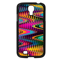 Multicolored Wave Distortion Zigzag Chevrons Samsung Galaxy S4 I9500/ I9505 Case (black) by EDDArt