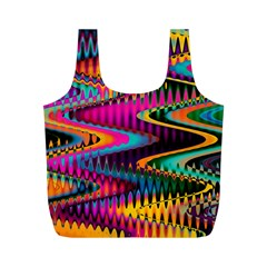 Multicolored Wave Distortion Zigzag Chevrons Full Print Recycle Bags (m)  by EDDArt