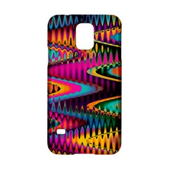 Multicolored Wave Distortion Zigzag Chevrons Samsung Galaxy S5 Hardshell Case  by EDDArt
