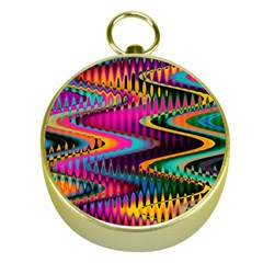 Multicolored Wave Distortion Zigzag Chevrons Gold Compasses by EDDArt