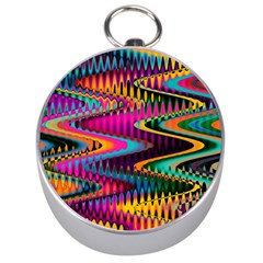 Multicolored Wave Distortion Zigzag Chevrons Silver Compasses by EDDArt
