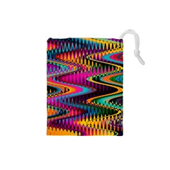 Multicolored Wave Distortion Zigzag Chevrons Drawstring Pouches (small)  by EDDArt