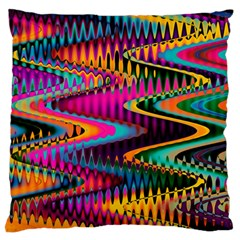 Multicolored Wave Distortion Zigzag Chevrons Large Flano Cushion Case (one Side) by EDDArt