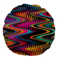 Multicolored Wave Distortion Zigzag Chevrons Large 18  Premium Flano Round Cushions by EDDArt
