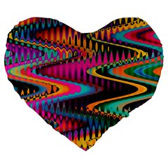 Multicolored Wave Distortion Zigzag Chevrons Large 19  Premium Flano Heart Shape Cushions by EDDArt
