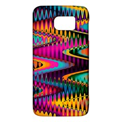 Multicolored Wave Distortion Zigzag Chevrons Samsung Galaxy S6 Hardshell Case  by EDDArt