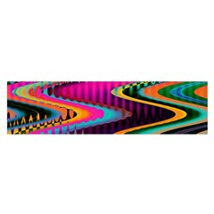 Multicolored Wave Distortion Zigzag Chevrons Satin Scarf (oblong)