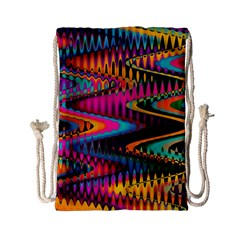 Multicolored Wave Distortion Zigzag Chevrons Drawstring Bag (small) by EDDArt